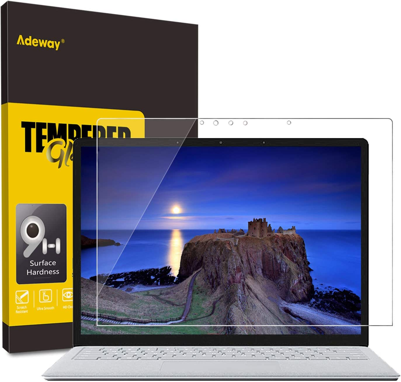 Adeway Tempered Screen Protector for Microsoft Surface Laptop 3/2 (15 inch), 9H Hardness, HD Clear, Ultra Sensitivity,During Installation Screen Protector