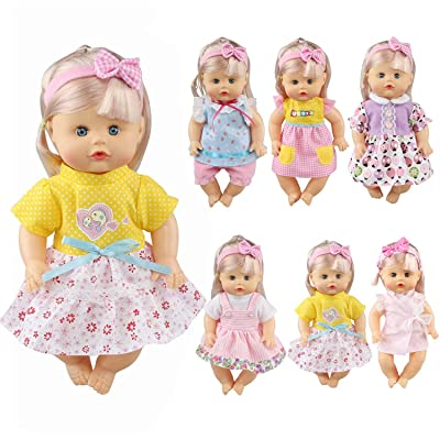 JING SHOW BUSSINESS Pack of 6 Fit 12 Inch Alive Baby Doll Gown Dress Clothes Fashionista Outfits Include Hair Band Girls American Doll: Toys & Games