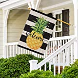 DOLOPL Summer Welcome Garden Flag 28x40 Inch Double Sided Decorative Pineapple Black Line Small Yard Garden Flags for…