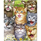 Cats Selfie Fleece Throw Blanket