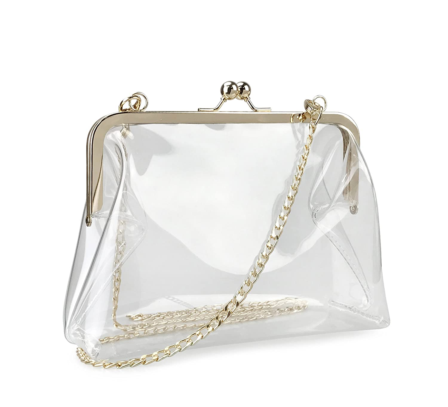 3a85a02a29a Hoxis Clear Transparent PVC Kiss Lock Chain Cross Body Bag Womens Clutch ( Clear)  Handbags  Amazon.com