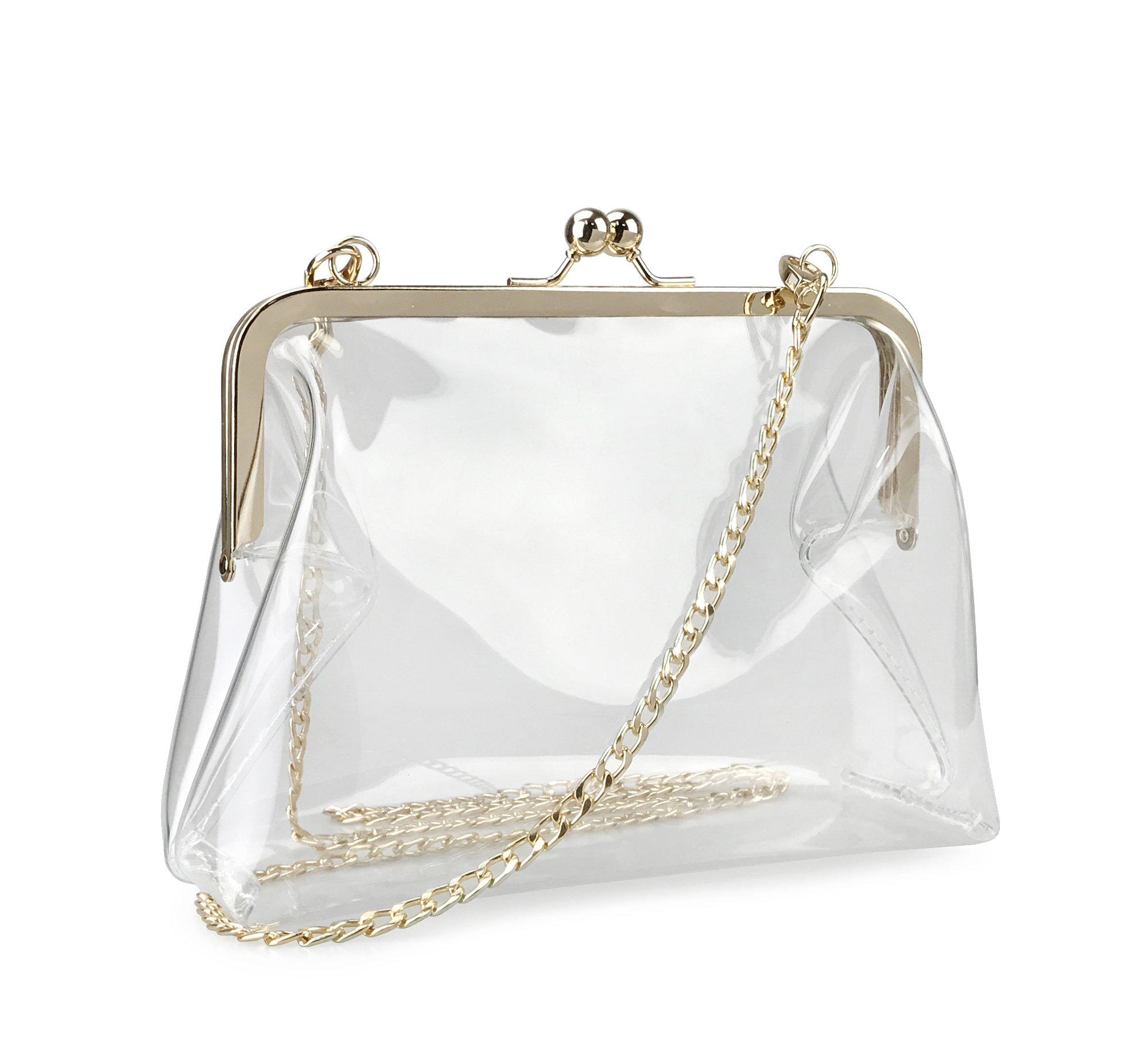 Hoxis Clear Transparent PVC Kiss Lock Chain Cross Body Bag Womens Clutch (Clear)