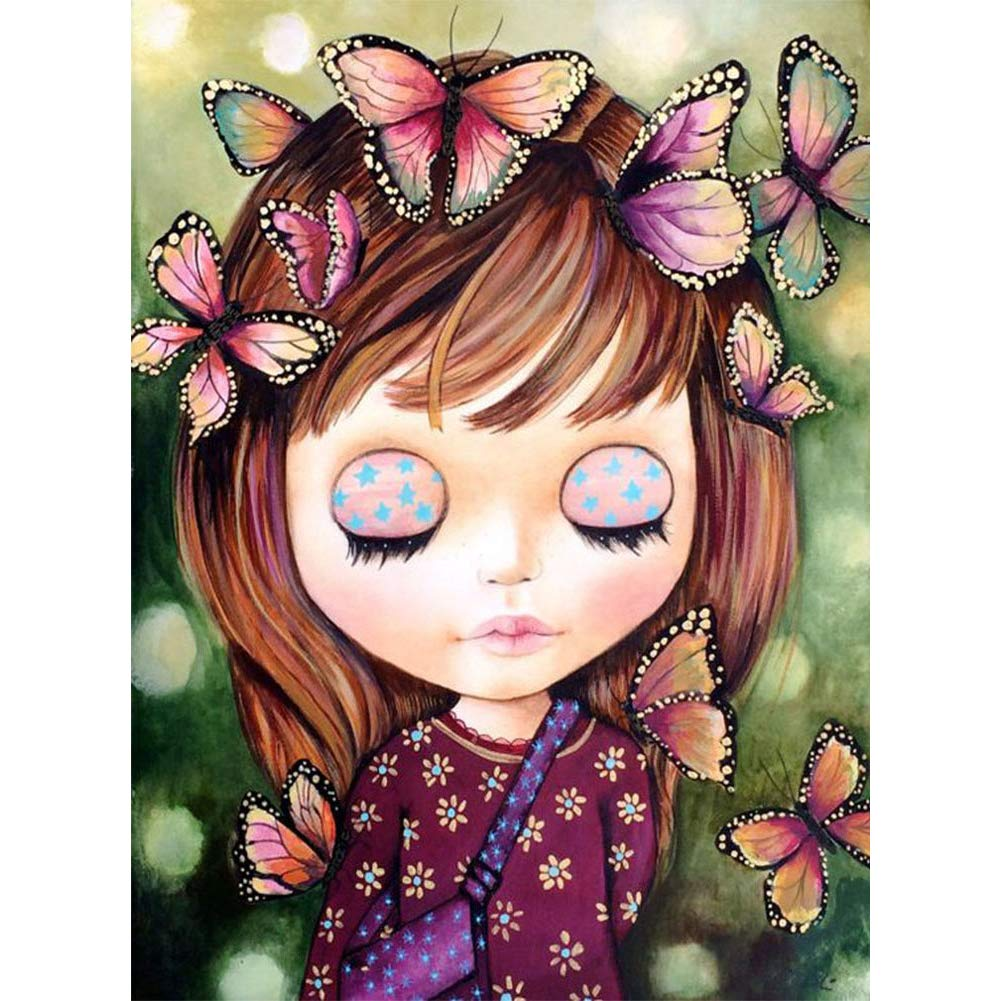 DIY 5D Diamond Painting Kits For Kids & Adults, Betionol Painting Cross Stitch Full Drill Crystal Rhinestone Painting By Number Kits, Lovely Butterfly Girl, 9.8 x 13.7 inch by Betionol