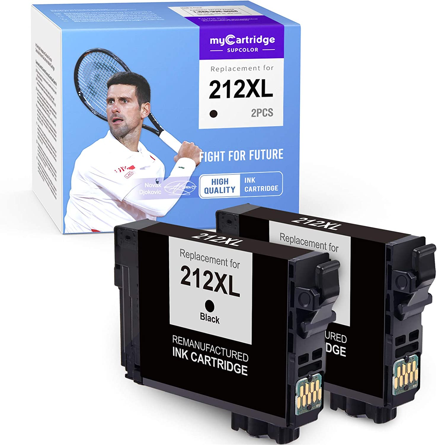 myCartridge SUPCOLOR Remanufactured Ink Cartridge Replacement for Epson 212 XL 212XL T212XL for Workforce WF-2850 WF-2830 Expression Home XP-4100 XP-4105, 2Black