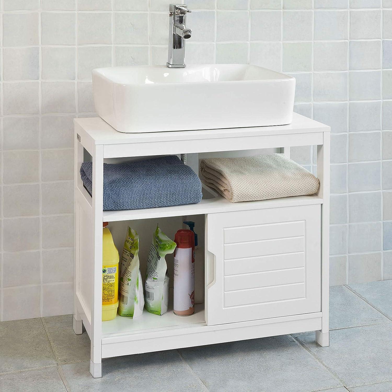 pour dessous de l/évier Cikonielf Armoire sous lavabo avec 2 portes meuble sous /évier avec un grand compartiment en bois massif de pin recycl/é 70 x 32 x 63 cm
