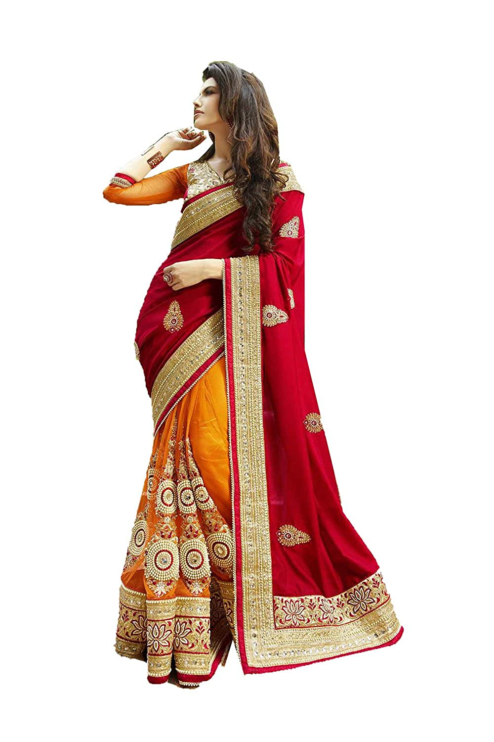 Da Facioun Indian Women Designer Party wear Deep red Saree Sari R-13628
