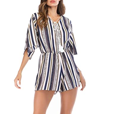 d93fe0de23d Striped Culotte Jumpsuits for Women Ladies,Lolittas Summer Sexy Harem Wide  Leg V Neck Tie Peplum Tassels One Piece Beach Casual Holiday Loose  Trousers  ...