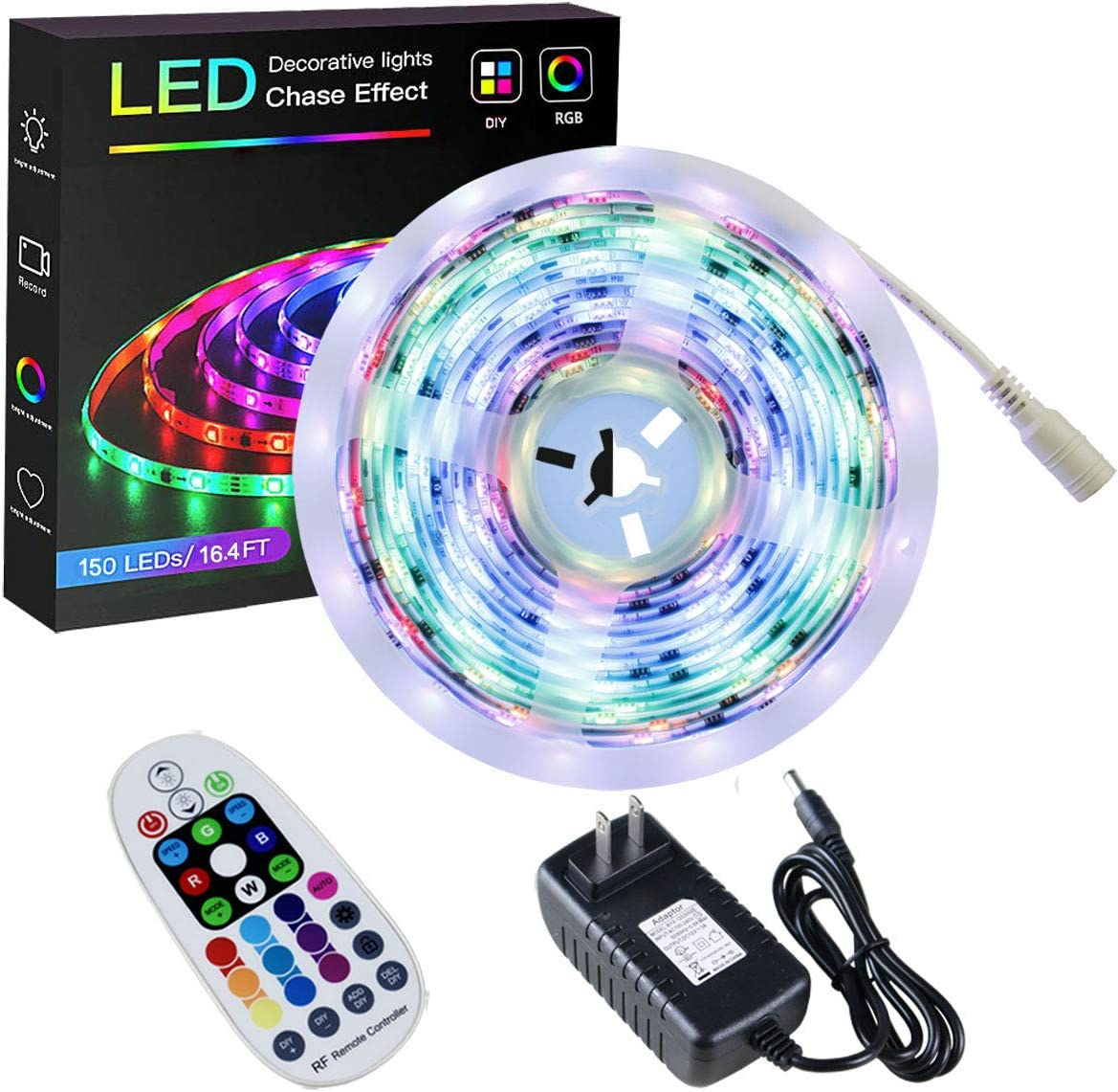 SPARKE RGBIC Led Strip Lights, 16.4ft/5m LED Tape Light, 150 Pixels RGB 5050 Waterproof Strip with RF Remote and Power Supply, Chasing Effect for Home Interior Parties