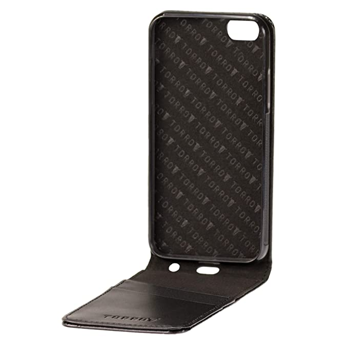 TORRO Premium Leather Flip Case compatible with iPhone 6S. Genuine Black  Italian Leather Flip Down Case for Apple iPhone 6 / iPhone 6S - Black: ...