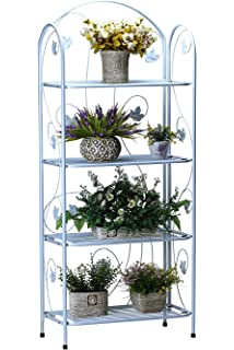 Worth 4 Tier Plant Stand With Rustic Maple Leaf Design | Modern Indoor U0026  Outdoor