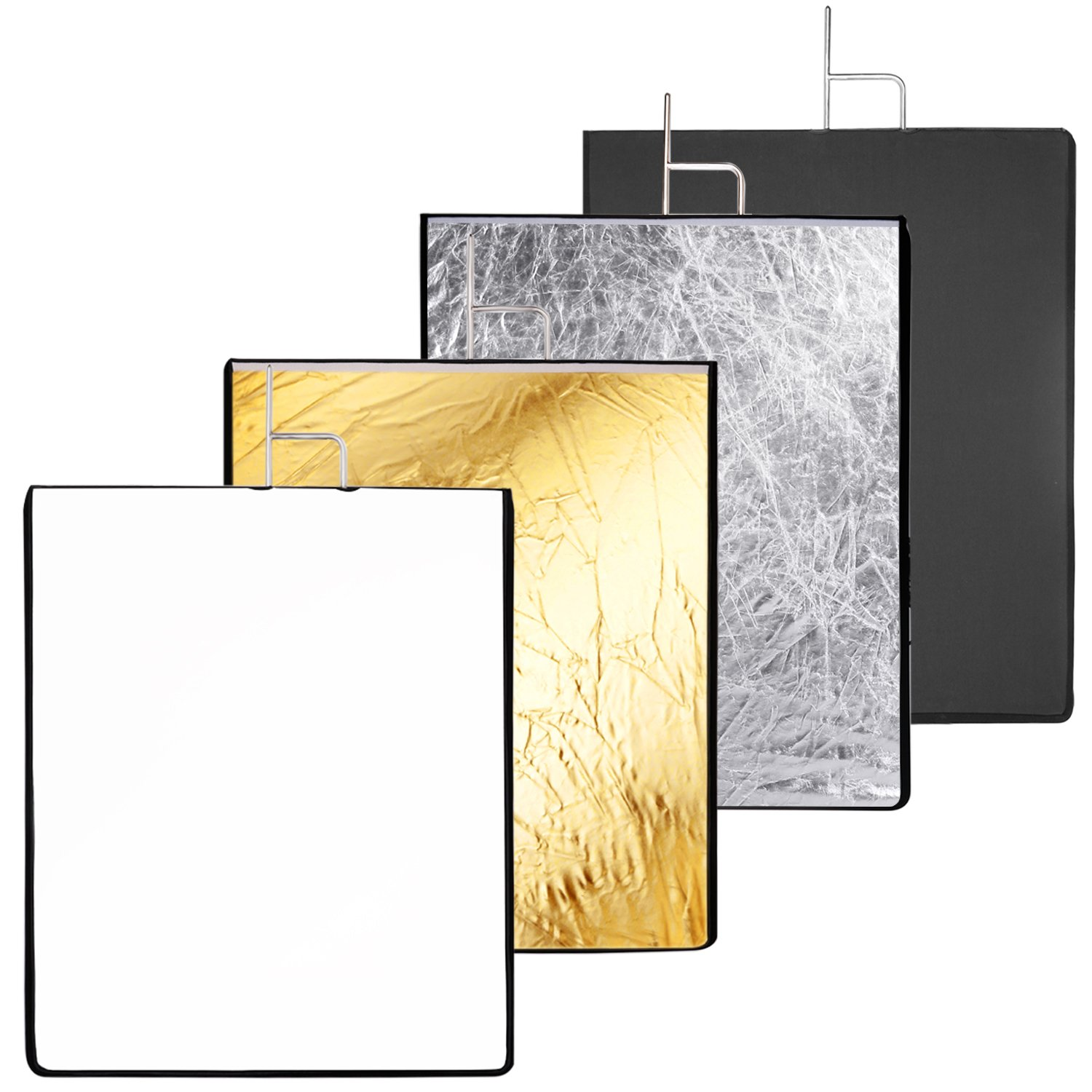 Neewer 30x36 inches 4-in-1 Metal Flag Panel Set Reflector with Soft White, Black, Silver and Gold Cover Cloth for Photo Video Studio Photography by Neewer
