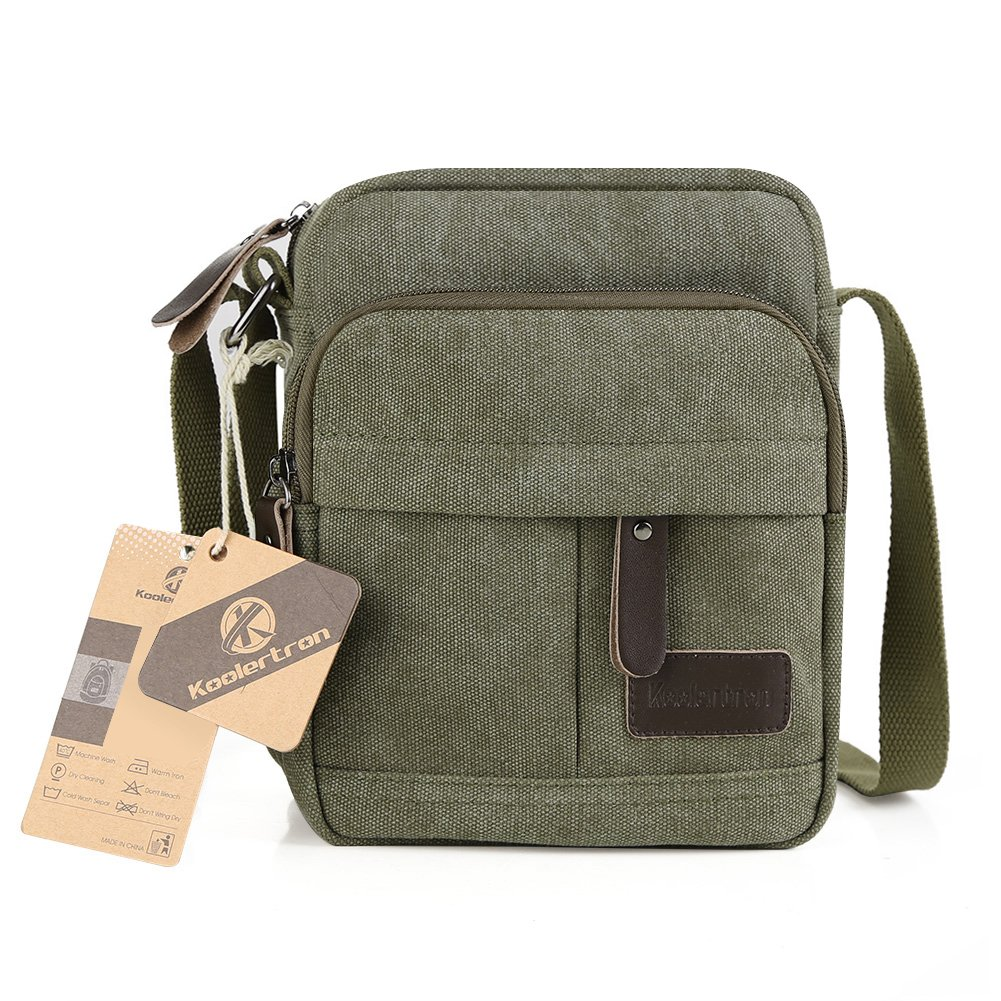 Koolertron Vintage Canvas Crossbody Shoulder Bag Lightweight Small Satchel  Bag For Men   Women (Green 7618f2088dd94
