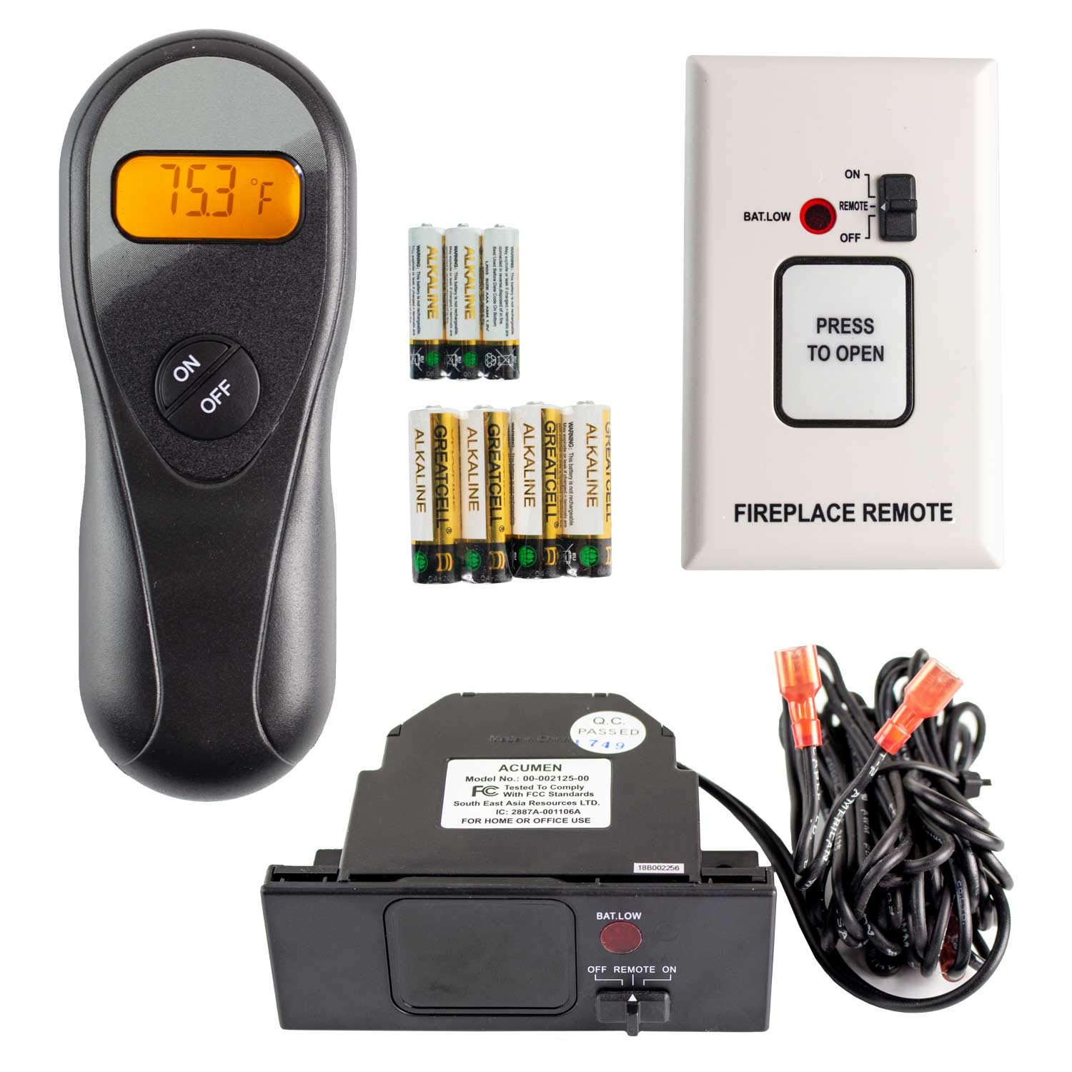 Hearth Products Controls Acumen On/Off Fireplace Remote Control with 9-Foot Wires (RCK-IW) by Hearth Products Controls