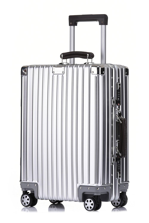 クロース(Kroeus)スーツケース アルミ合金ボディ 無段階調節 防塵カバー付属 マット仕上げ 【TSAロック 日本語取扱説明書 1年保証】 B07581SZ86 S(1~3泊/37L)|シルバー シルバー S(1~3泊/37L)