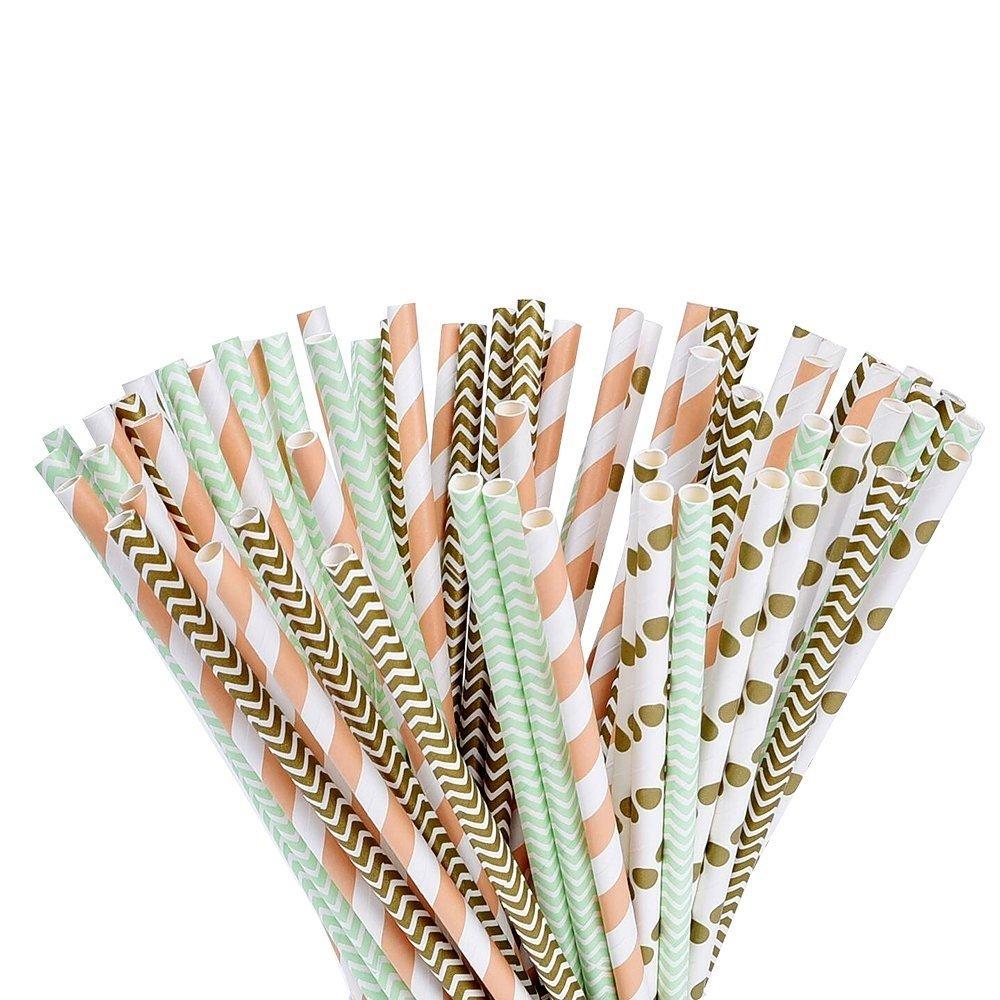 con un elegante patr/ón de oro verde y naranja 100 piezas Ca/ñitas de papel org/ánico by DURSHANI Paquete de 100 Pajitas