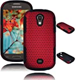 Bastex Heavy Duty Hybrid Case for Samsung Galaxy Light T399 - Black Silicone / Red Net Mesh Hard Shell