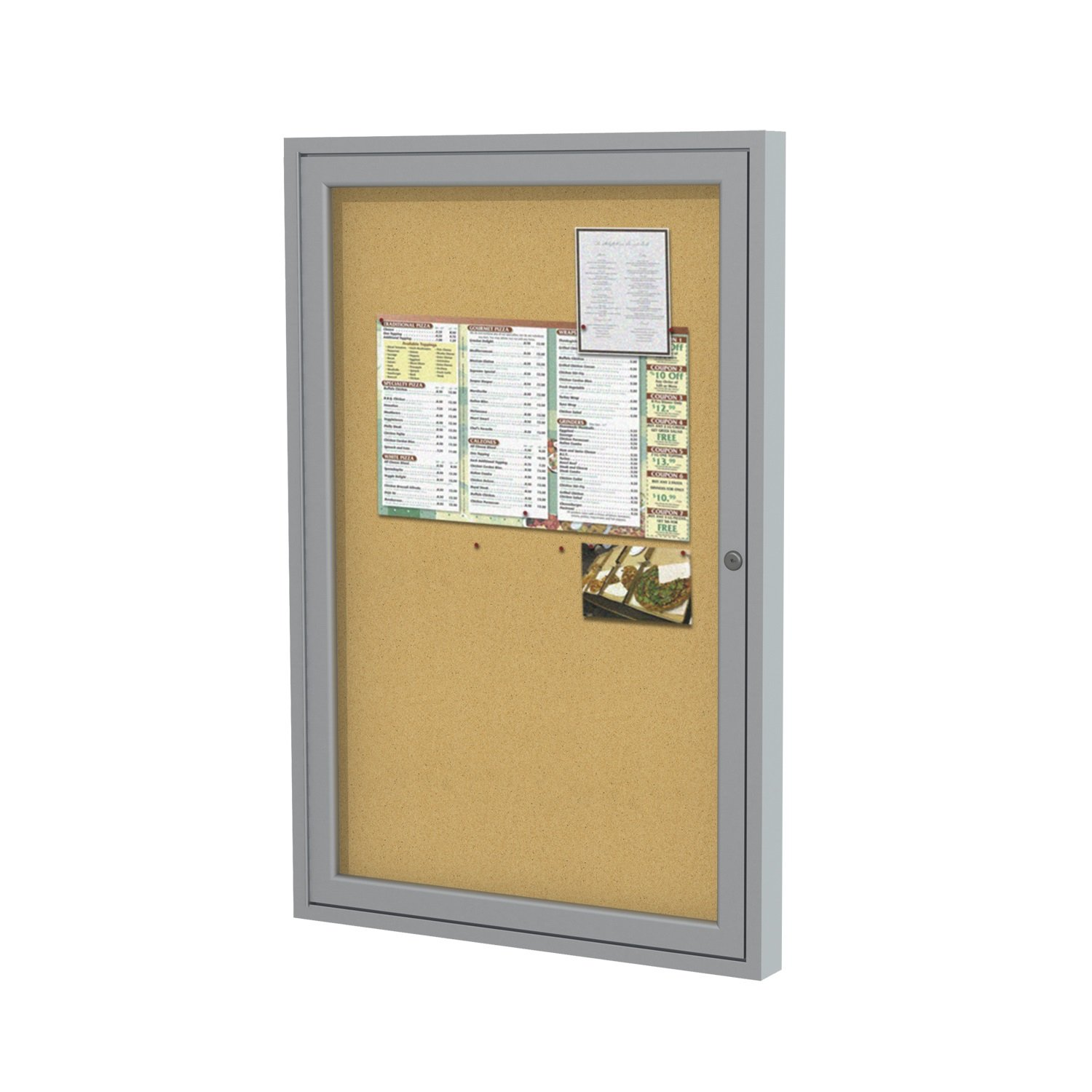 Ghent 36''x24''   1-Door indoor Enclosed Bulletin Board , Shatter Resistant, with Lock, Satin Aluminum Frame  - Natural Cork (PA13624K)  Made in the USA