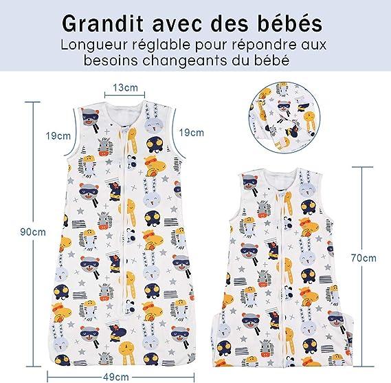 70-90cm Nabance Gigoteuse B/éb/é Coton 100/% poids l/éger 0.5 TOG pour l/ét/é Zip S/écuris/é de Qualit/é taille r/églable Gigoteuses Naissance 3-18 Mois