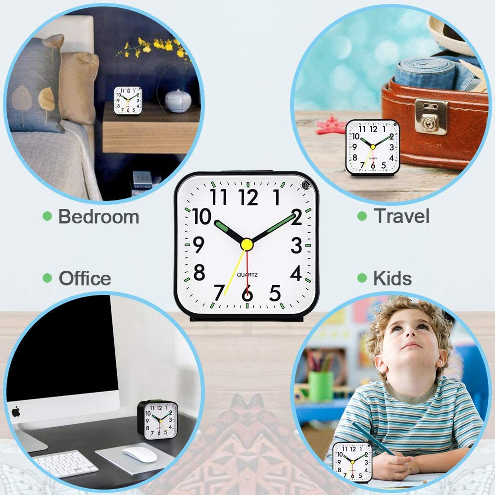 Neucox Battery Alarm Clock Bedside Non Ticking Silent Desk Clock Simple Table Analogue Clocks Nightlight Luminous Hands for Bedrooms Office Outdoors Heavy Sleepers