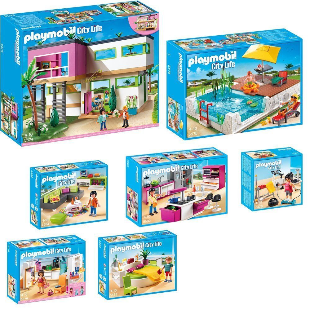 playmobil modernes wohnzimmer : Playmobil City Life 9 Teiliges Set 5574 Moderne Luxusvilla 5575