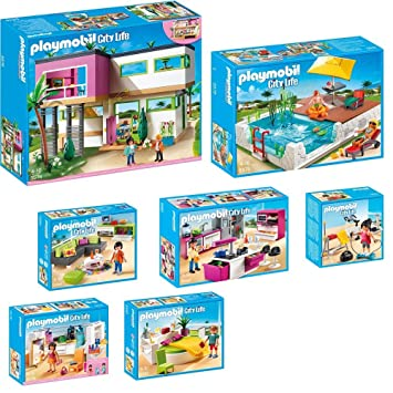 PLAYMOBIL City Life 9-teiliges Set 5574 Moderne Luxusvilla + 5575 ...