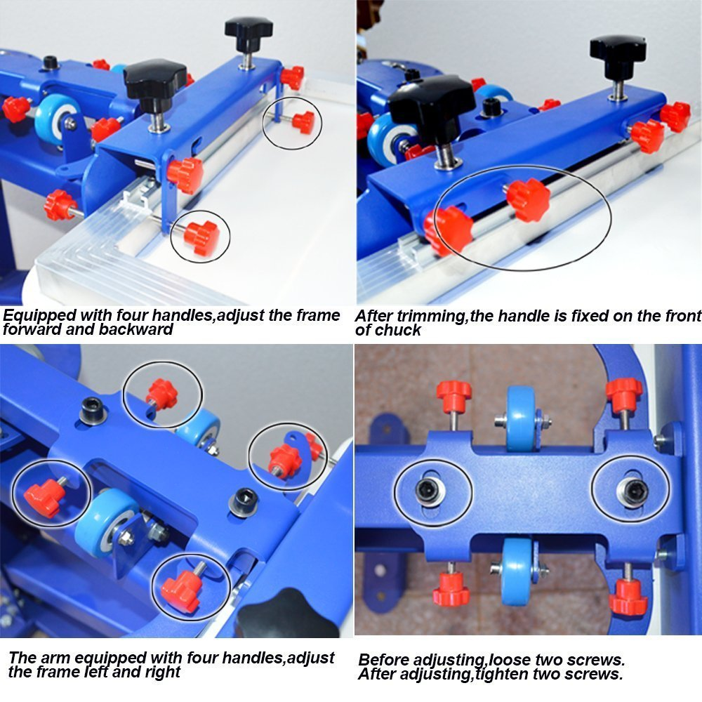 aeba9919 Amazon.com: 4 Color 1 Station Screen Printing Press Kit Screen Printing  Machine with Flash Dryer Material KIt