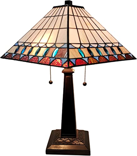 Amora Lighting Tiffany Style Table Lamp Banker Mission 21″ Tall Stained Glass Blue Tan Brown Green Vintage Antique Light D cor Living Room Bedroom Office Handmade Gift AM238TL14B