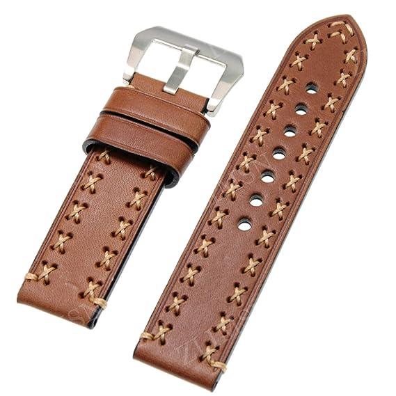 Correa de Reloj de Cuero Genuino Real 26 mm 24 mm 22 mm 20 mm Correa de Reloj de Plata Pulsera para Bandas de Reloj panerai marrón 22 mm: Amazon.es: Relojes