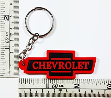 Negro Rojo Chevrolet Logo Llavero Llavero de goma ...