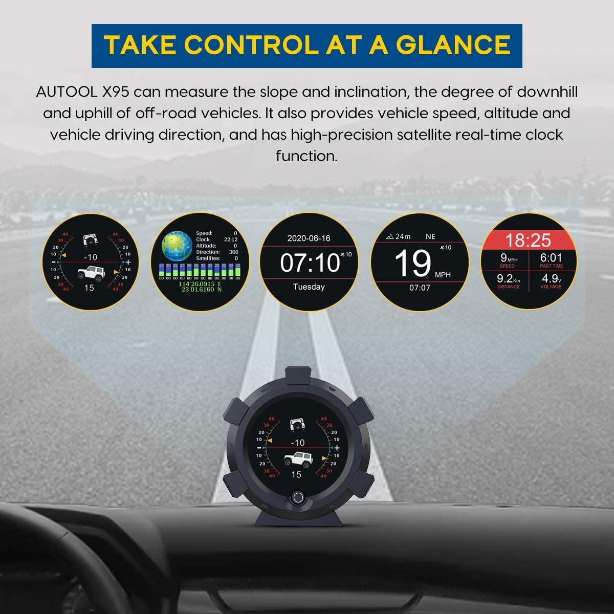 AUTOOL X95 GPS Slope Meter HUD Digital Inclinometer GPS Car Head Up Display Level Tilt Gauge with Function of Date /& Time Speedometer,Battery Voltage,Mileage Measurement for All DC5-28V Cars