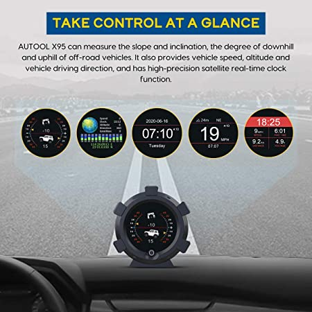 Speedometer,Battery Voltage,Mileage Measurement for All DC5-28V Cars AUTOOL X95 GPS Slope Meter HUD Digital Inclinometer GPS Car Head Up Display Level Tilt Gauge with Function of Date /& Time