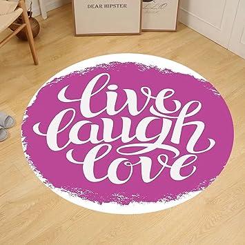 Amazon.com: Gzhihine Custom round floor mat Live Laugh Love Decor ...
