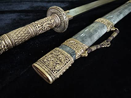 Chinese sword/Kangxi collection sword/Brass refined/pattern steel/Package skin scabbard/kungfu/Length 39
