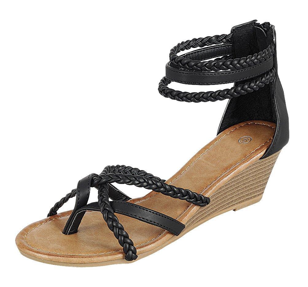 Cambridge Select Women's Back Zip Strappy Crisscross Braided Ankle Thong Toe Wedge Sandal B0799RTX1T 9 B(M) US|Black