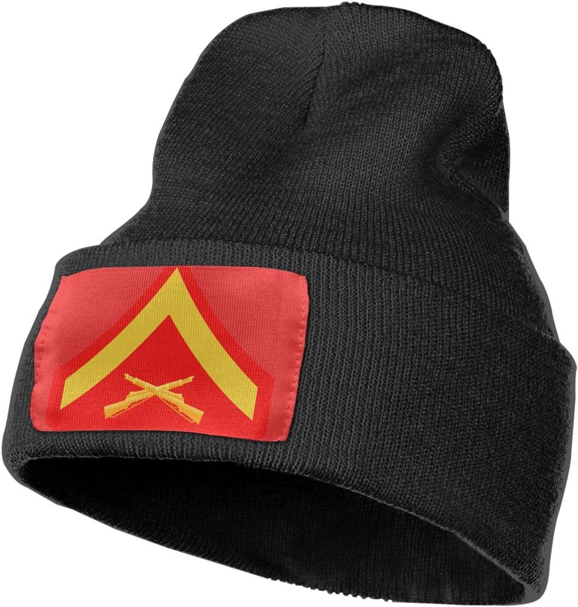 USMC Lance Corporal E3 Men/&Women Warm Winter Knit Plain Beanie Hat Skull Cap Acrylic Knit Cuff Hat