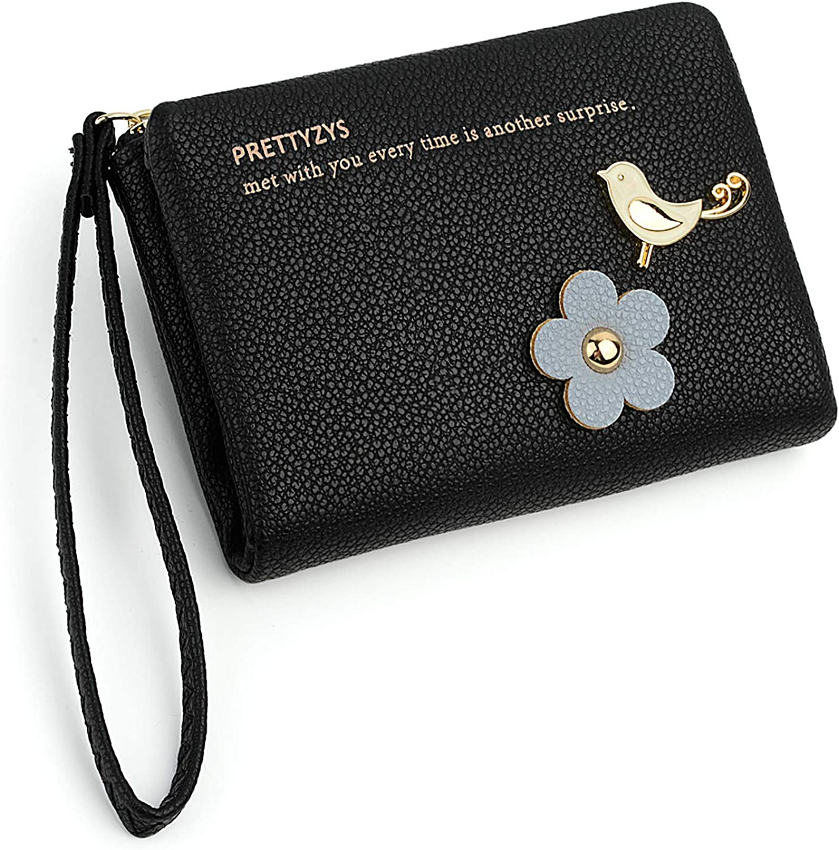 UTO Women Wristlet Small Wallet Bird Flower PU Leather Card Slot Zipper Coin Holder Purse