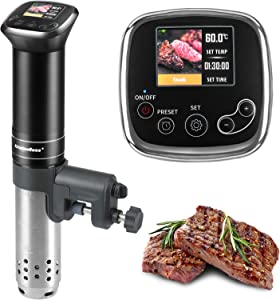 Sous-Vide Machine Immersion-Circulator Precision Cooker - 1100 Watts IPX7 waterproof, Advanced chip precise temperature control,LCD color display,With storage bag and Includes10 Vacuum Sealer Bags