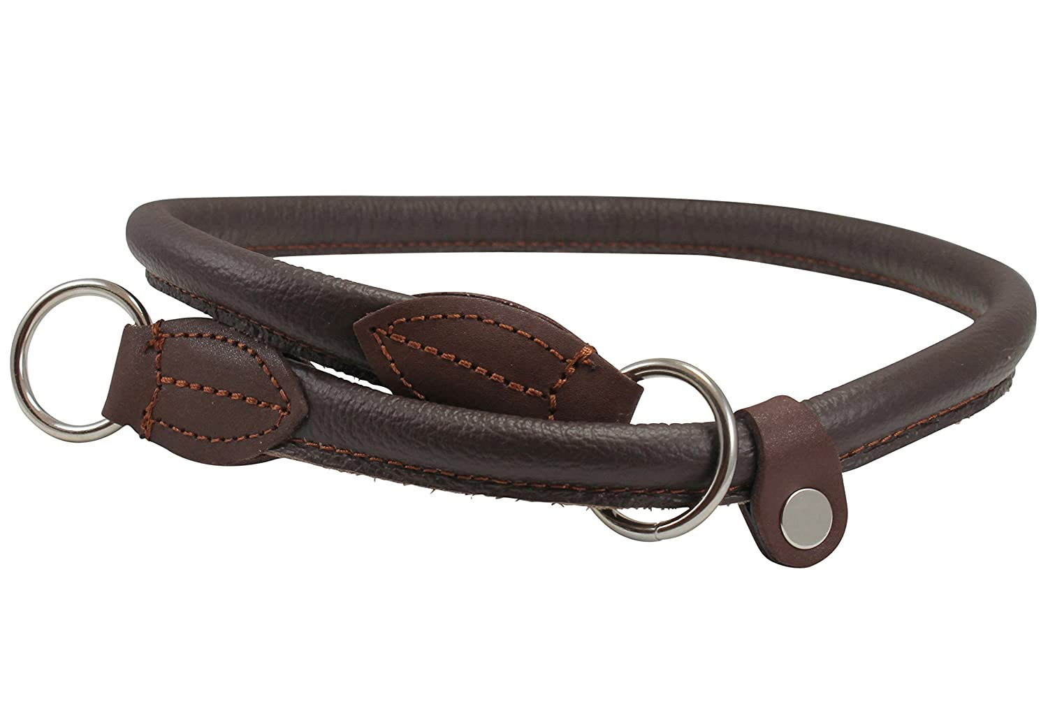 30\ Round Genuine Rolled Leather Choke Dog Collar Brown (30  Long)