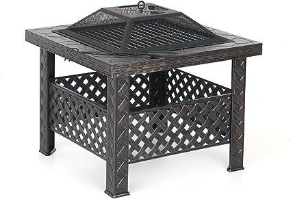 IKAYAA interougehome Brasero Barbecue carr/é pour Jardin et terrasse
