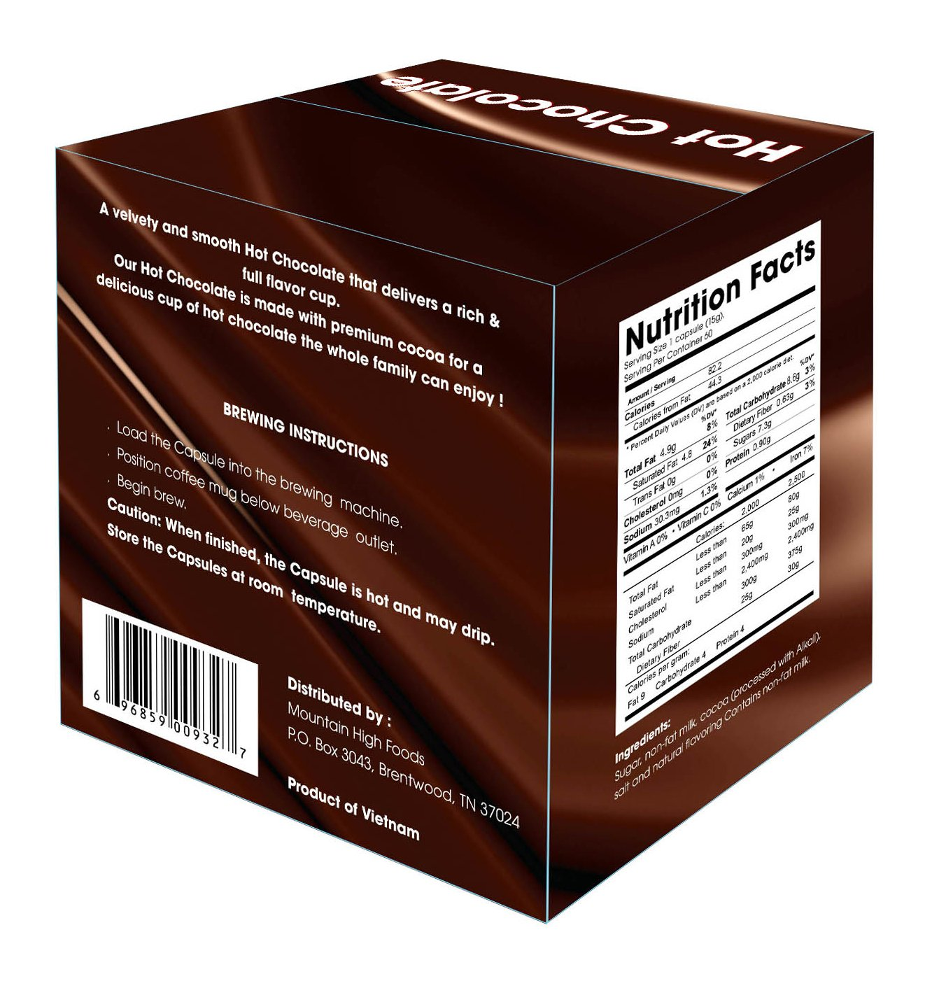 Mountain High Foods Hot Chocolate K Cups 60 Count (2.0 Compatible ...