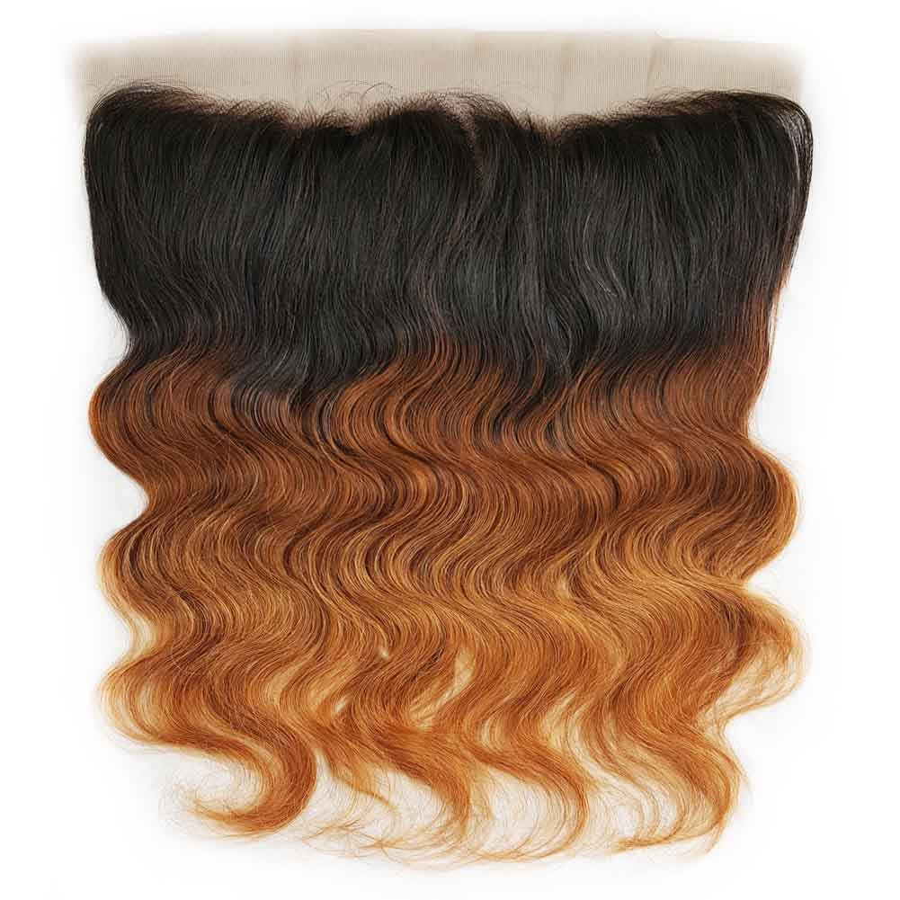 SHOWJARLLY Ombre Brazilian Body Wave Lace Frontal Closure 13 x 4inch Three Tone Ombre 1b/4/30 Medium Auburn Body Wave Ear To Ear Full Lace Front Closure With Baby Hair (18'',Free Part)