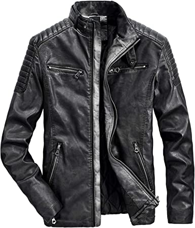 Color : Black, Size : Medium Autumn Winter Mens Leather Jackets Casual Stand Collar Motorcycle Jacket Men Slim Fit Leather Jacket Men