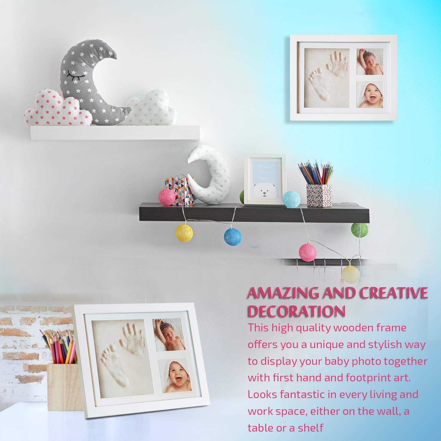 Personalized Shower Party Gift Baby Handprint and Footprint Picture Frame Kit by ZaniFlip Newborn Girl or Boy diy photos imprint keepsake set White Wooden Framing and Non Toxic Clay Glass Cover
