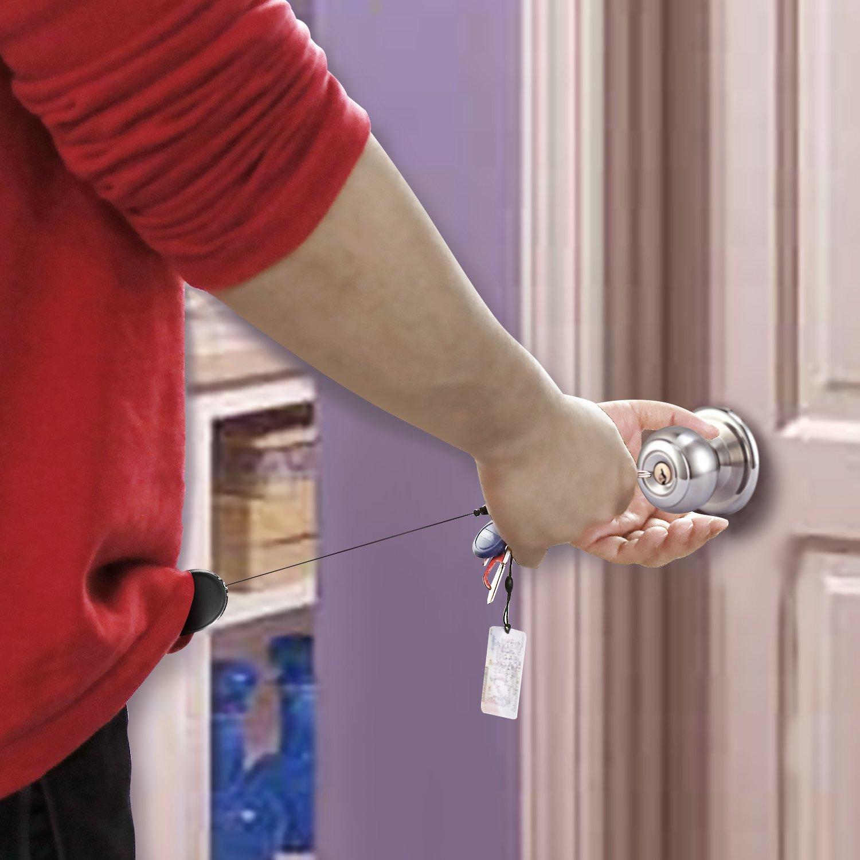 5 Farben Einziehbare Abzeichenhalter Carabiner Rollen Schlüsselhalter Ketten mit