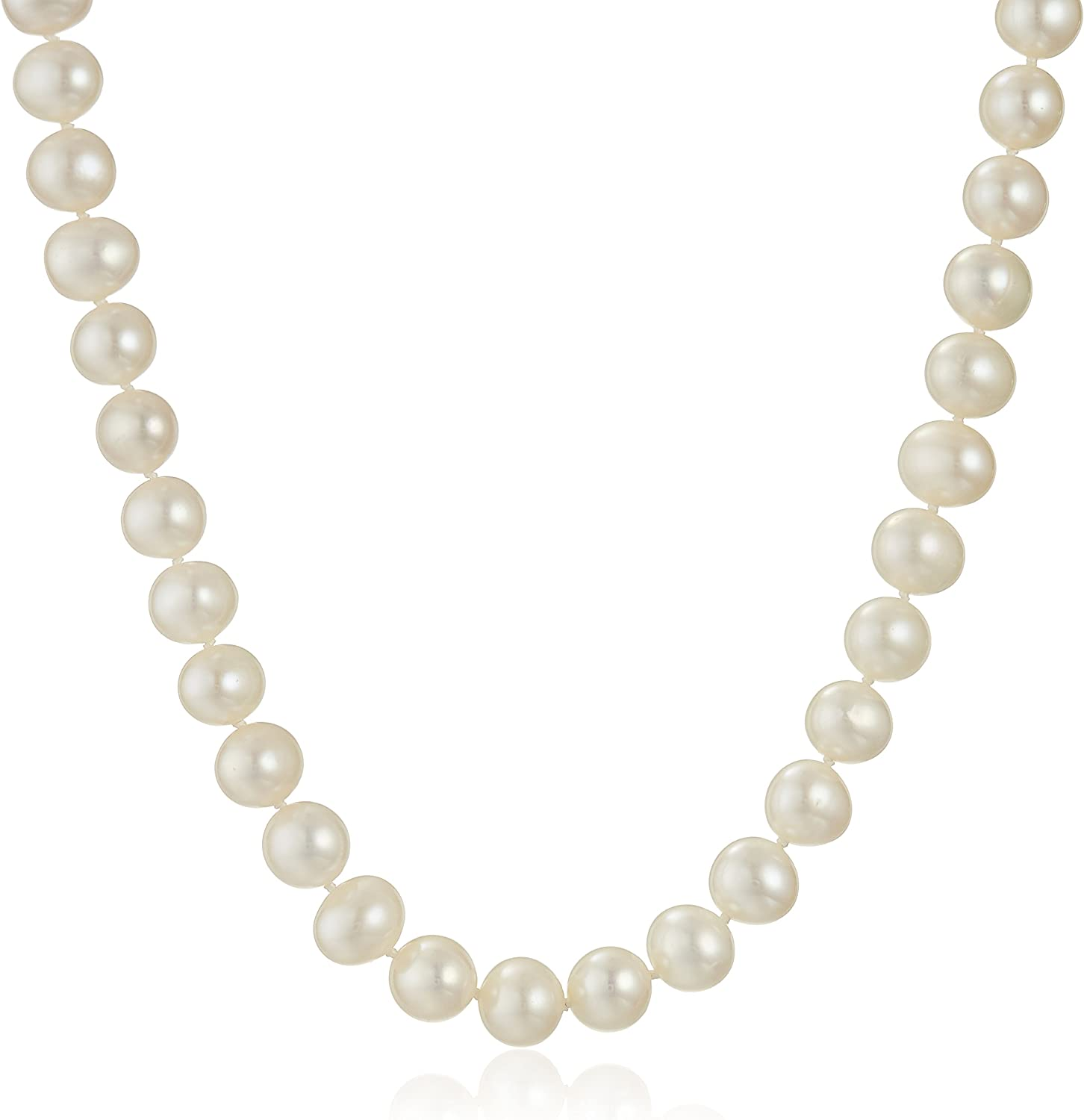 Beautiful Yellow gold 14K 14k 8-9mm Pink Near Round Freshwater Cultured Pearl Necklace