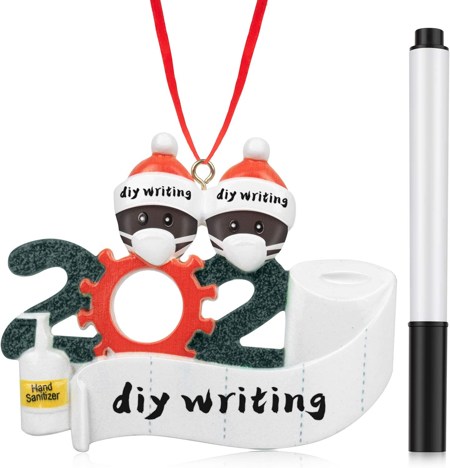 TRENZADO Personalized Name Christmas Ornament Kit with Mask, 2020 Quarantine Survivor Family Customized Christmas Decorating Kit, Creative Gift for American African Family of 2, with Marker Pen