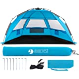 EVOCREST Easy Setup Beach Tent - Large Beach Cabana Sun Shelter with UPF 50+ Protection - Portable & Lightweight - Perfect for 2-3 People