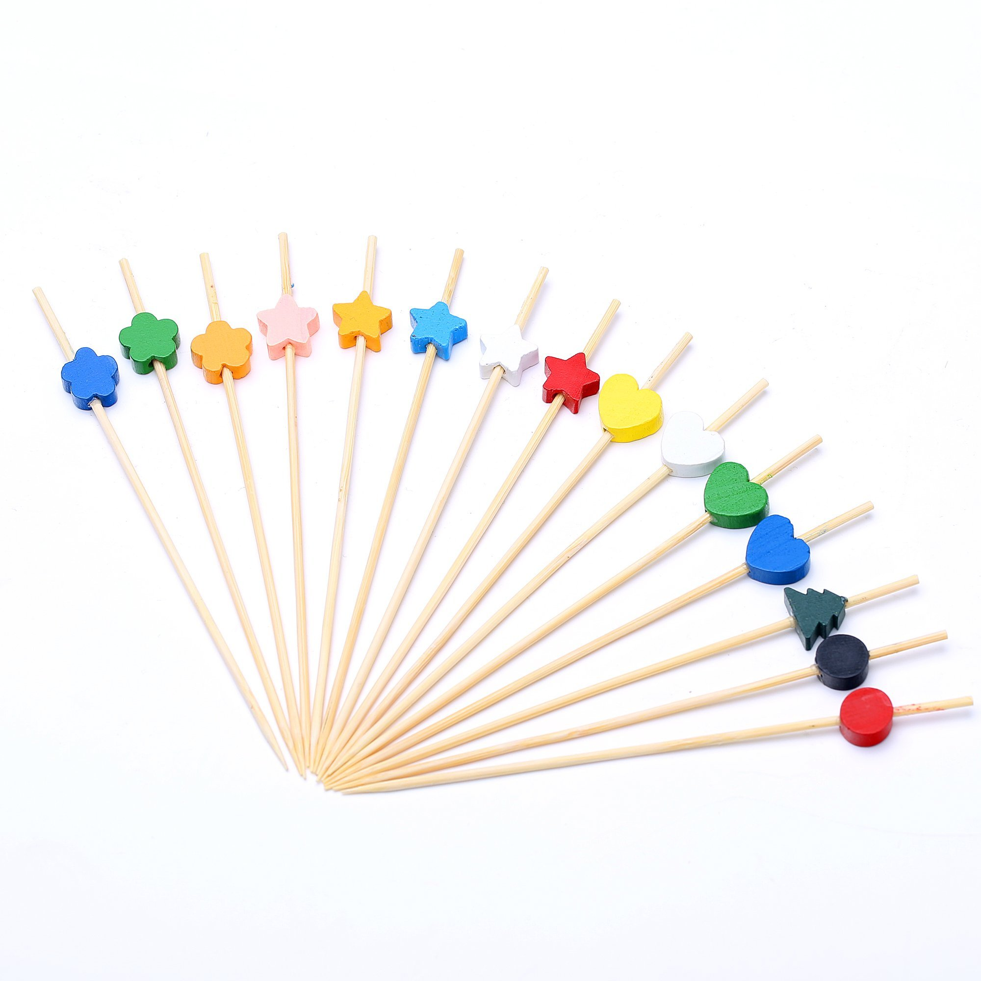 Cocktail Picks 4.7'' Handmade Assorted Color and Shape Appetizer Bamboo Toothpicks 200 Counts Cocktail Sticks Party Suppiles by VC-HOME