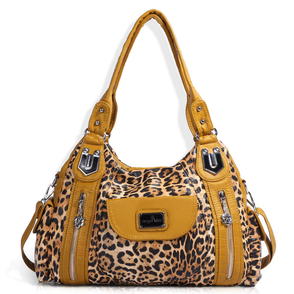 Handbag Hobo Women Handbag Roomy Multiple Pockets Street ladies' Shoulder Bag Fashion PU Tote Satchel Bag for Women (AK812-2Z Yellow Leopard)