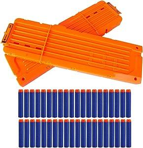 Little Valentine 2 Pack 18-Dart Quick Reload Clip and 40 Dart Refill Pack for Nerf N-Strike Elite Series (Orange)